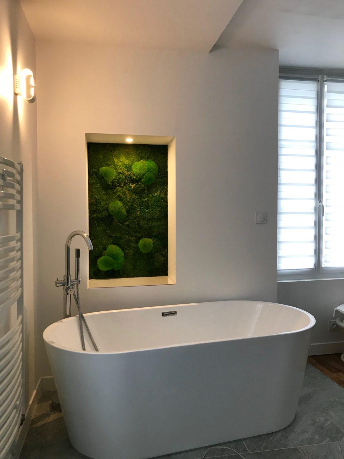 Mur végétal stabilisé salle de bain  Mousse boule stabilisée  L